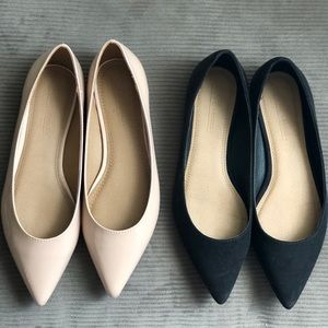 Two pairs of almond toe flats. Asos brand size 6